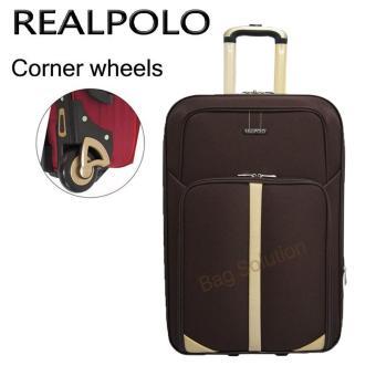 Real Polo Tas Koper Softcase Expandable 2 Roda 540- 24 Inchi - Coffee - Gratis