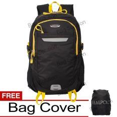 Real Polo Tas Ransel Laptop Kasual - Tas Pria Tas Wanita 6359 Backpack Up to 15 inch Bonus Bag Cover - Hitam