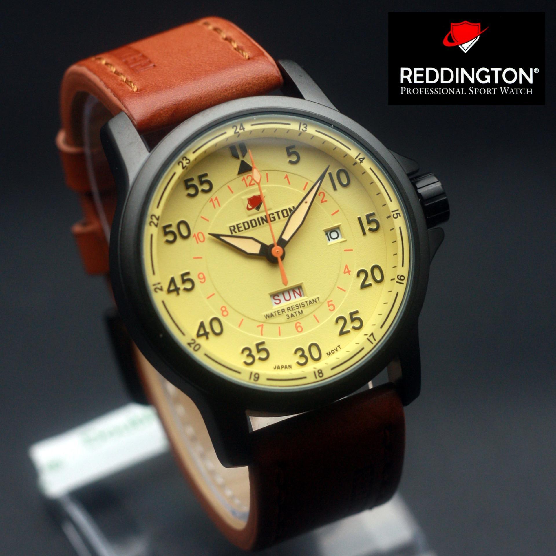 Reddington Original Watch Jam Tangan Pria Leather Strap Genuine Swiss Army Digital Hitam Rubber Sa 6228