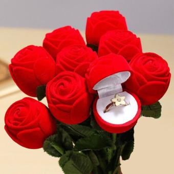Romantic Red Rose Engagement Wedding Ring Box Earrings Jewelry GiftBox