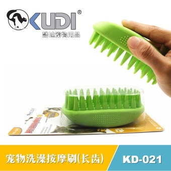 Rubber Pet Massage Bath Brush Brush Cleaning Bath Depth of Dogs and Cats Dogs Long Teeth (rose) - intl