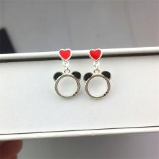 S925 manis sterling silver peach jantung beruang anting