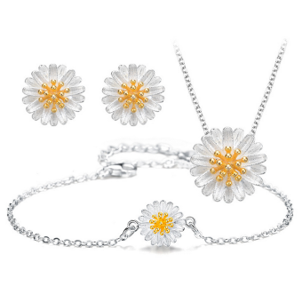 S925 sterling silver bunga daisy kecil anting jas Necklace