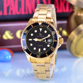Saint Costie Jam Tangan Pria-Body Gold-Black Dial-Gold Stainless Steel Band