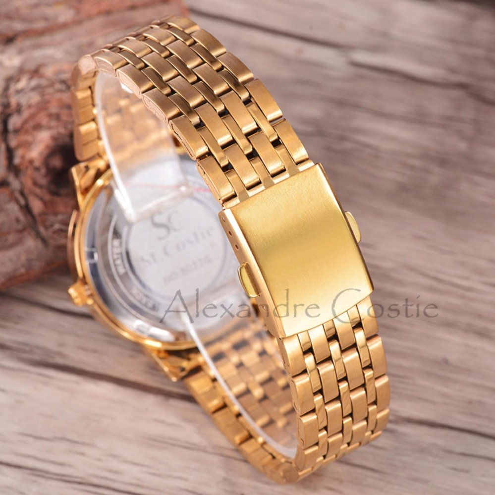 Saint Costie Original Brand, Jam Tangan Wanita - Body Gold - Black Dial - Stainless ...