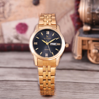 Saint Costie Original Brand, Jam Tangan Wanita - Body Gold - Black Dial - Stainless