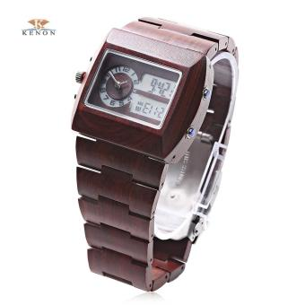 S&L K KENON Male Quartz Digital Display Wooden Watch - intl