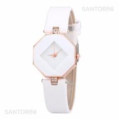 Santorini Jam Tangan Wanita Fashion Faux Leather Luxury Women Analog Quartz Wrist Watch - WHITE
