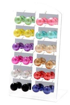 Sanwood mutiara imitasi wanita bola bulat Subang multi warna giwang 12 pasang