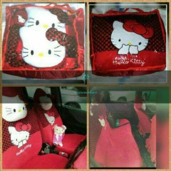 Pencari Harga sarung jok bantal mobil 18 in 1 hello kitty merah hitam headrest menyatu (