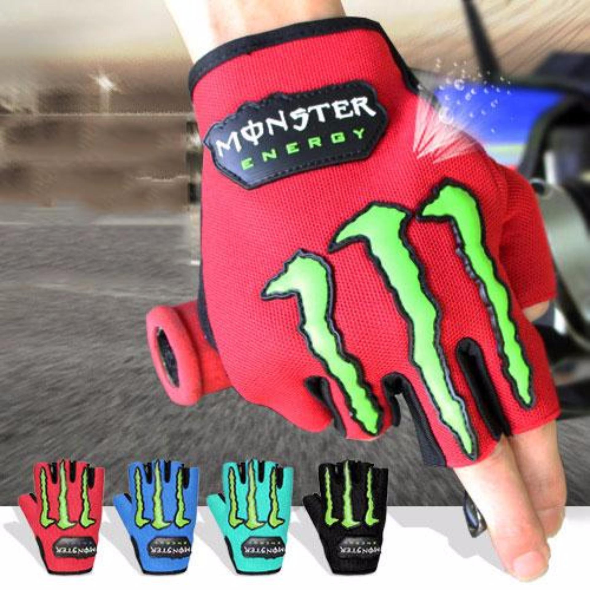 Sarung Tangan Monster Energy Motor Setengah Jari Merah / SarungTangan Biker Merah .