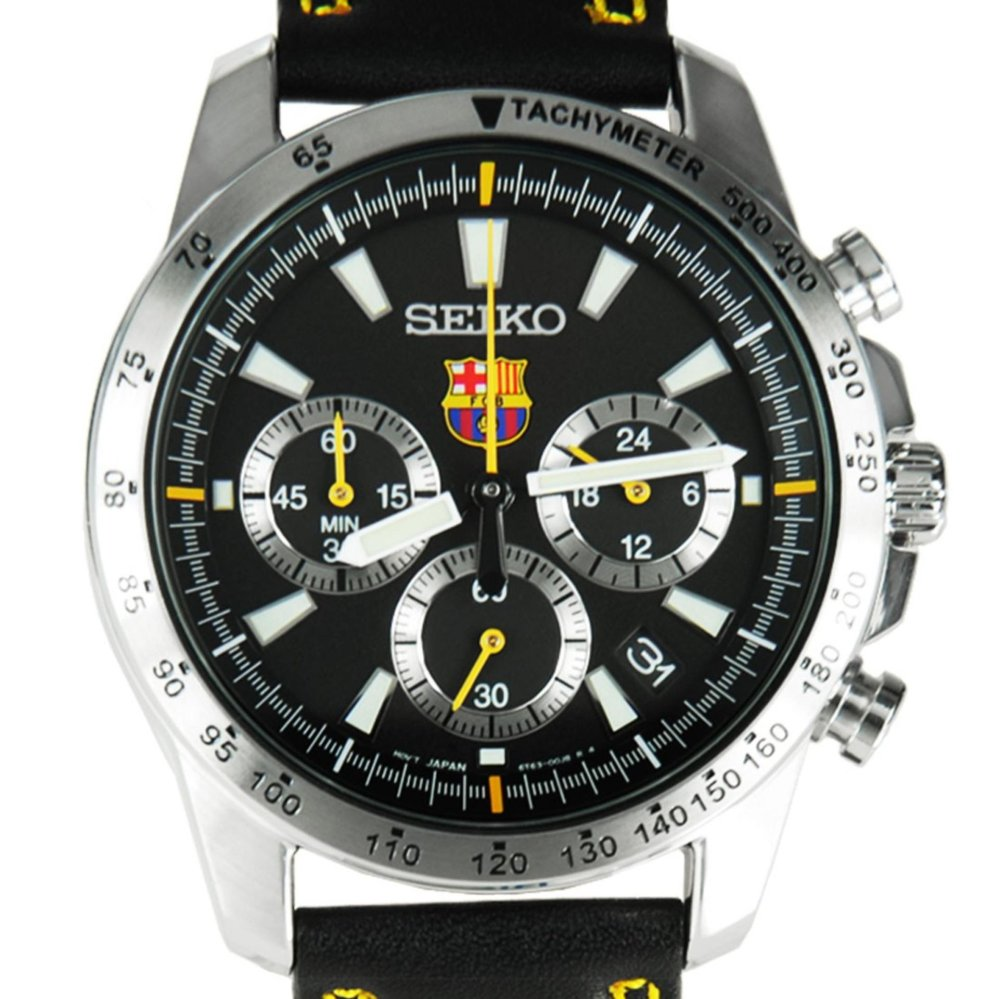 Seiko Quartz Ssb073p2 Chronograph Fc Barcelona Leather Jam Pria 5 Sports Mens Srp681k1 Tangan Srp681 Silver Stainless Automatic Ssb073