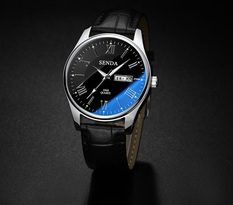 SENDA merek Watch mewah biru dipoles kaca kuarsa laki-laki perempuan pergelangan tangan menonton fashion pasangan watch leather strap