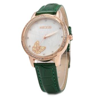 SH KEZZI K - 1178 Women Quartz Watch Casual Butterfly Artificial Diamond Wristwatch Green - intl