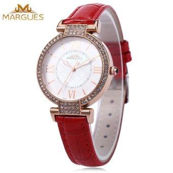 SH MARGUES M - 3018 Women Fashion Quartz Watch Luminous Pointer Roman Numerals Scale Artificial Rhinestone Dial Wristwatch Red - intl