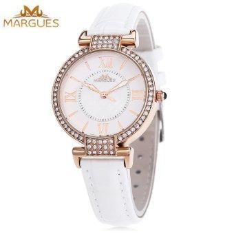 SH MARGUES M - 3018 Women Fashion Quartz Watch Luminous Pointer Roman Numerals Scale Artificial Rhinestone Dial Wristwatch White - intl