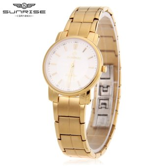 SH SUNRISE DL747SWA Women Quartz Watch Sapphire Mirror Water Resistance Hidden Buckle Wristwatch Gold - intl
