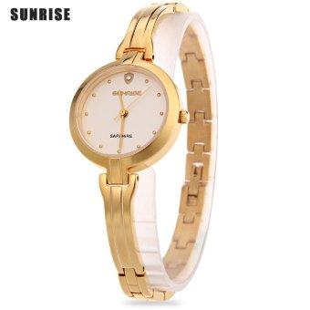 SH SUNRISE SL713SWA Female Quartz Watch Water Resistance Sapphire Mirror Hyperfine Band Wristwatch Gold - intl