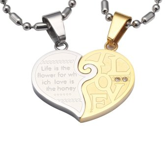 Silver Tone Gold Men Women His Her Couples Heart Love CZ Pendant Necklace W/ Sausage Chain 60cm