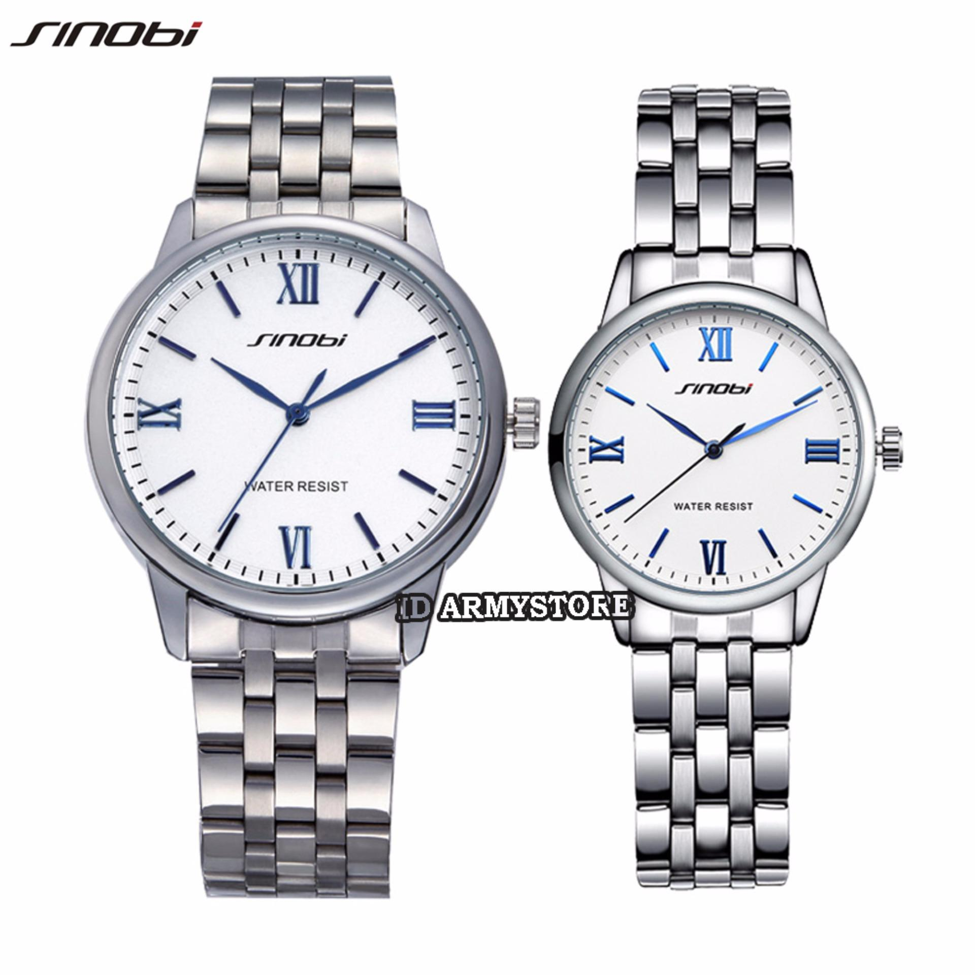Sinobi 9445G02 - Jam Tangan Analog Couple - Stainless Silver - Dial Putih .