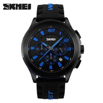 Skimei Men Casual Silicone Quartz Watch Waterproof Fashion 30 Meters Waterproof Stopwatch 9136 - Black - intl - 2