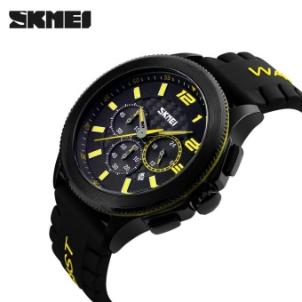 Skimei Men Casual Silicone Quartz Watch Waterproof Fashion 30 Meters Waterproof Stopwatch 9136 - Black - intl - 5