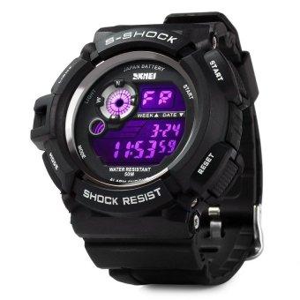 Skmei 0939 Military LED Watch Water Resistant Day Date Alarm Stopwatch Sports Wristwatch (BLACK)