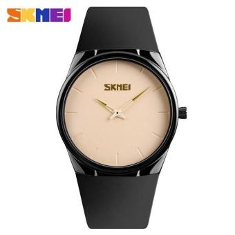 SKMEI 1601s Men's Ultra Thin PU Strap Quartz Sport Watch Men Waterproof Casual Wristwatch Pink -