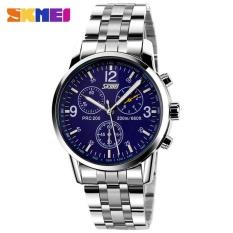 SKMEI 9070 Pria QUARTZ Fashion Watches Tahan Air Bisnis Watch Penuh Steel Band Watch Blue