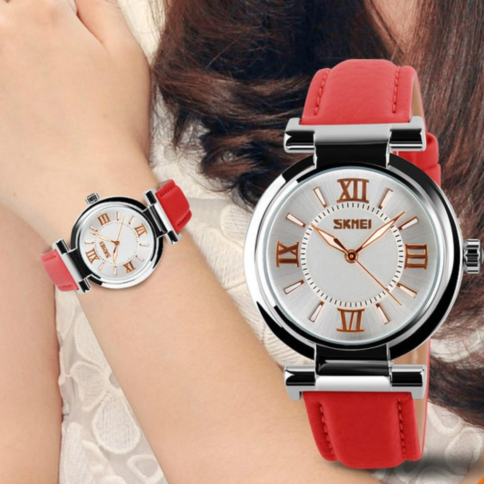 SKMEI 9075 Fahsion Wanita's kulit jam tangan quartz Watch tahan air Digital arloji .