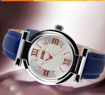 SKMEI 9075 Fashionable Women's Leather Watch Quartz Watch Waterproof Digital Wristwatch - Blue - intl