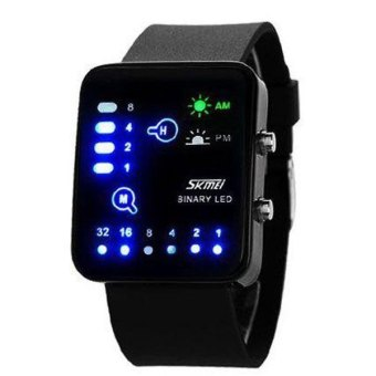 SKMEI Binary Hitam - Jam Tangan Pria - Strap Karet - 0890 Black Edition + Free Box Jam Tangan Flash