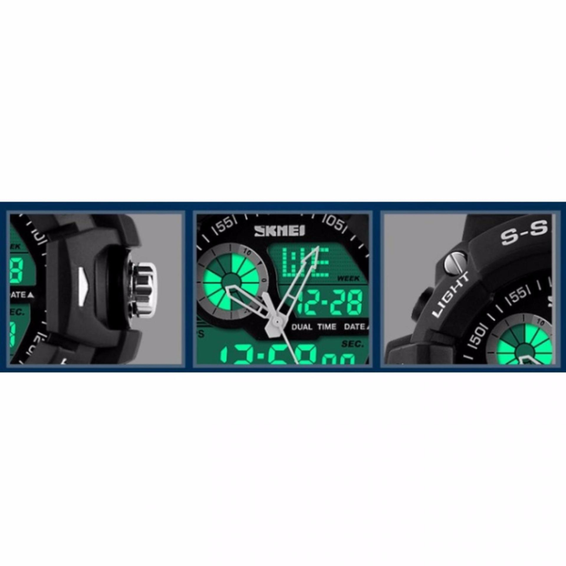 SKMEI Casio Dual Time Men Sport LED Watch Anti Air Water Resistant WR 50m AD1029 Jam