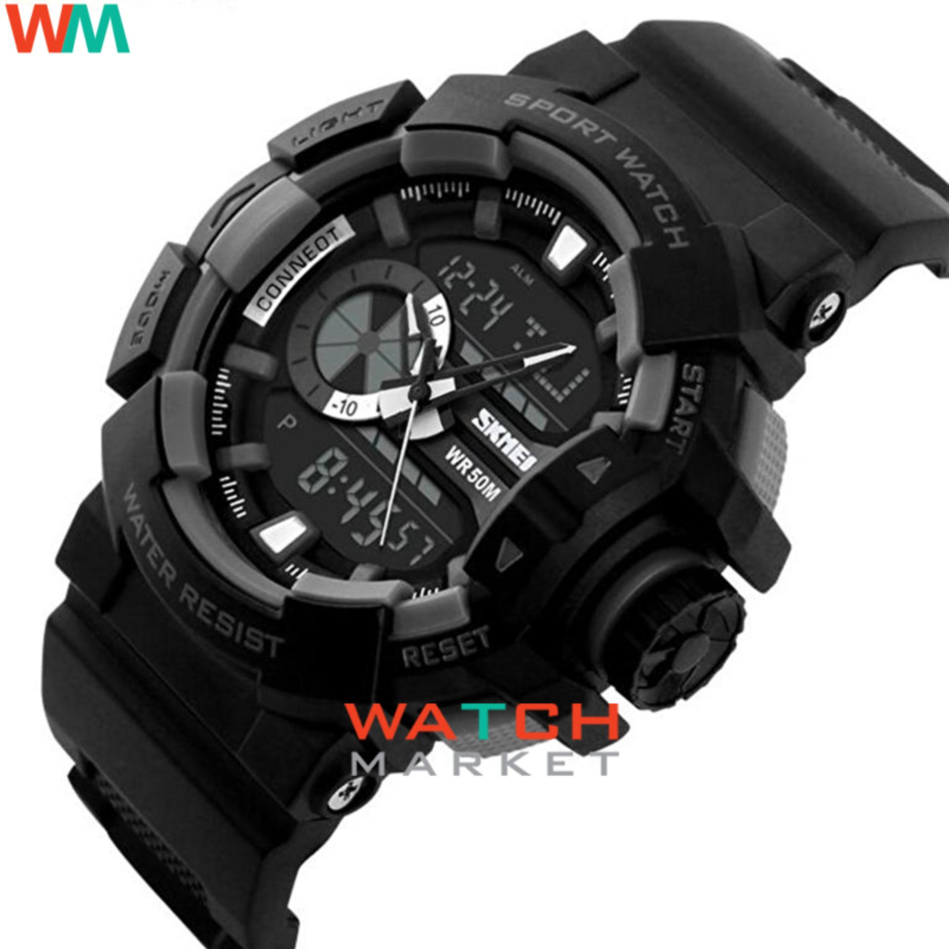 SKMEI Casio Dual Time Men Sport LED Watch Anti Air Water Resistant WR 50m AD1117 Jam ...
