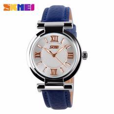 SKMEI Fragrant Biru - Jam Tangan Wanita - Tali Kulit - 9075 Fashion Blue + Free Box Jam Tangan Flash