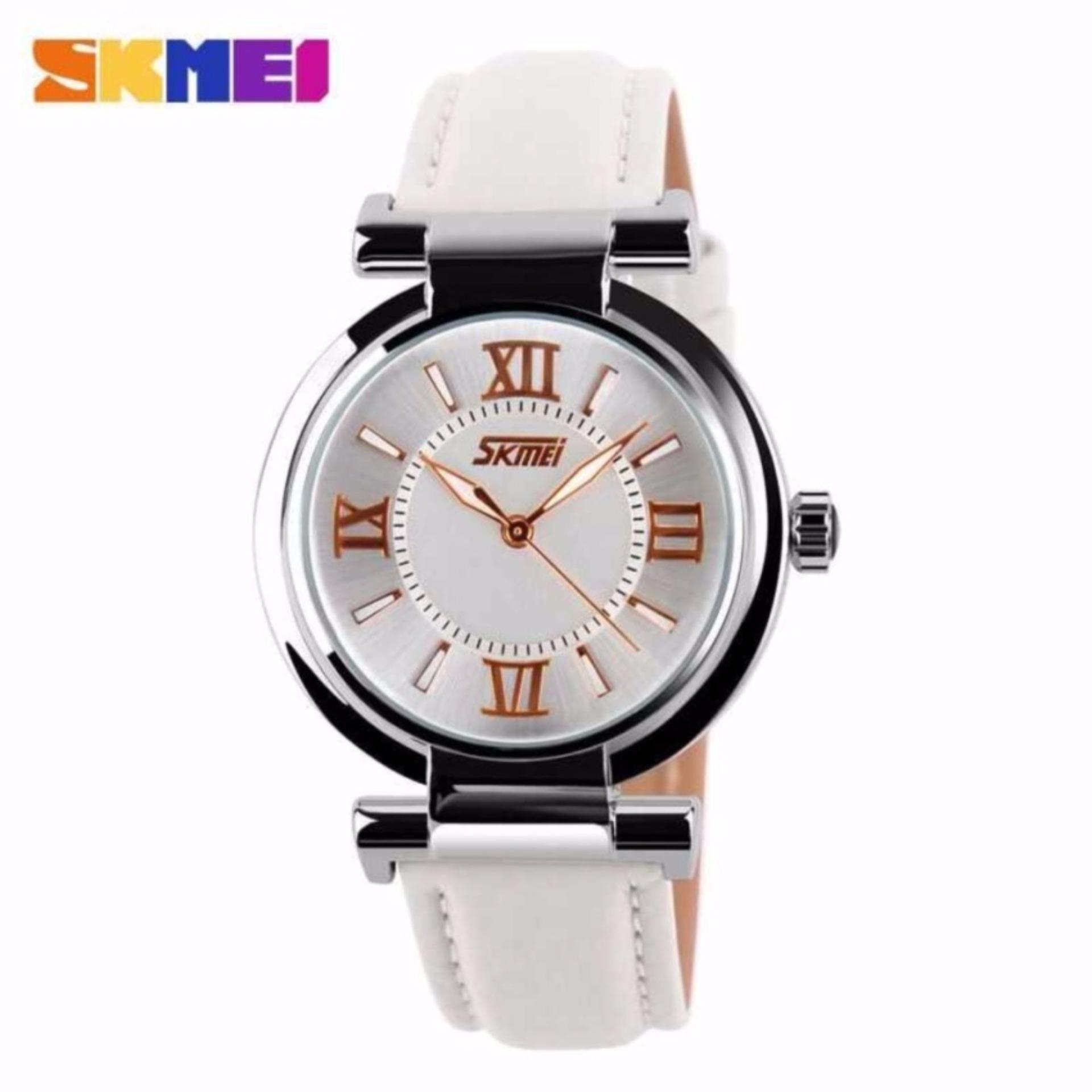 SKMEI La s Analog Jam Tangan Wanita Anti Air Water Resistant WR 30m 9075CL Strap Leather Kulit