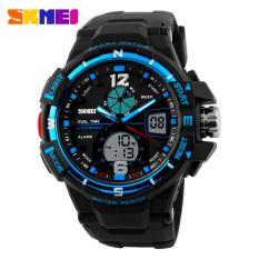 SKMEI Men Sport Analog Dual Time LED Watch Water Resistant WR 50m AD1148 Jam Tangan Pria Tali Strap Karet Date Alarm - Hitam Biru