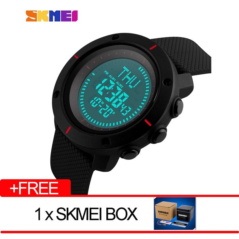 SKMEI merek Watch Fashion multifungsi Digital Watch Olahraga Outdoor tahan air jam tangan pria Kompas Countdown