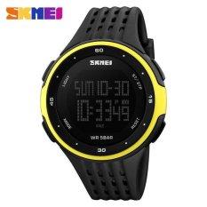 SKMEI Olahraga Fashion Watches Tahan Air LED Digital Militer Watch Pria dan wanita Berenang Pendakian Outdoor Casual PU Tali Arloji -kuning