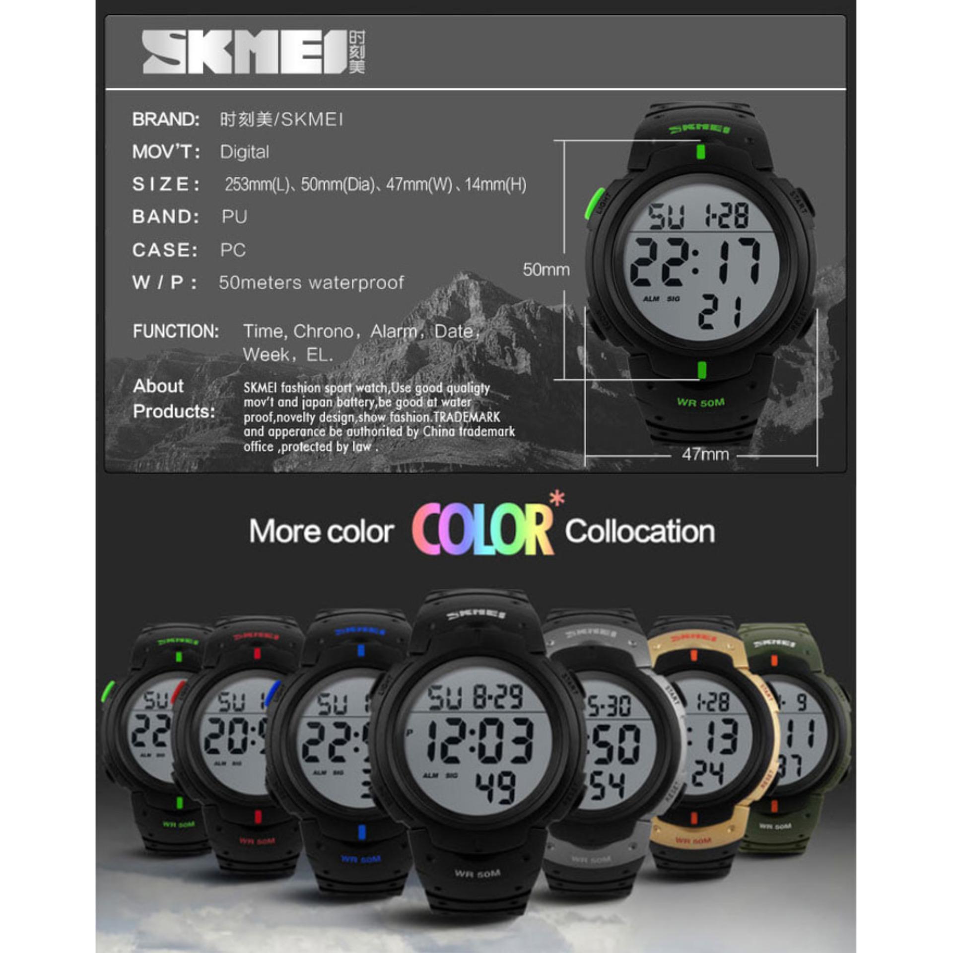 SKMEI Pioneer Sport Watch 1068 Original Water Resistant 50M - Black .