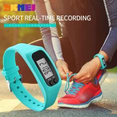 SKMEI Wanita Fashion olahraga Watches Pedometer kalori Sport Mileage Digital Watch gadis Colorful silikon tali jam tangan 1207 - biru