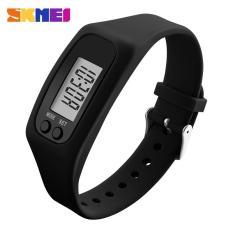 SKMEI Wanita Fashion olahraga Watches Pedometer kalori Sport Mileage Digital Watch gadis Colorful silikon tali jam tangan 1207 - hitam