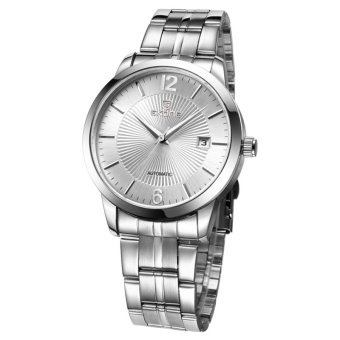 SKONE 3ATM Waterproof Round Dial Nailed Scale Calendar Display Automatic Mechanical Men Watch With Alloy Band(Silver) - intl