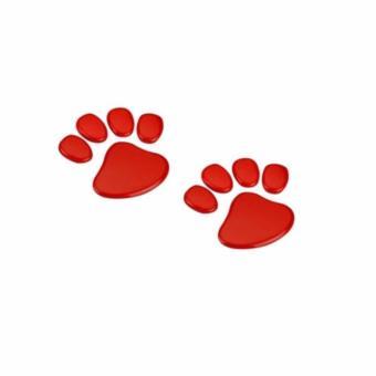 Harga Termurah Sohoku Stiker 3D Dog Footprint / Cakar Anjing - Merah Belanja murah