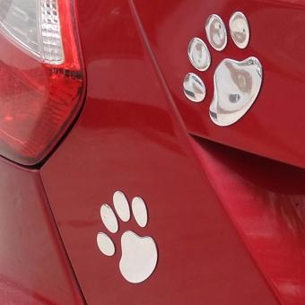 ... Sohoku Stiker 3D Dog Footprint / Cakar Anjing - Silver - 3