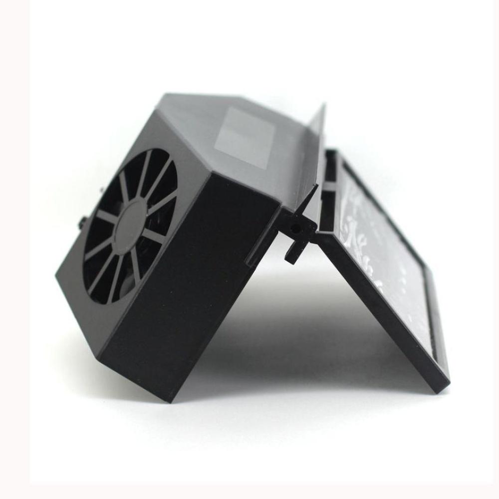 Flash Sale Solar Powered Car Window Air Vent Ventilator Mini Jas Hujan Messio Grey Conditionercool Fan Black Intl