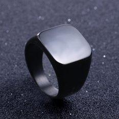 Solid stainless steel ring Band Titanium pria pernikahan perhiasan cincin - US ukuran 7 - hitam