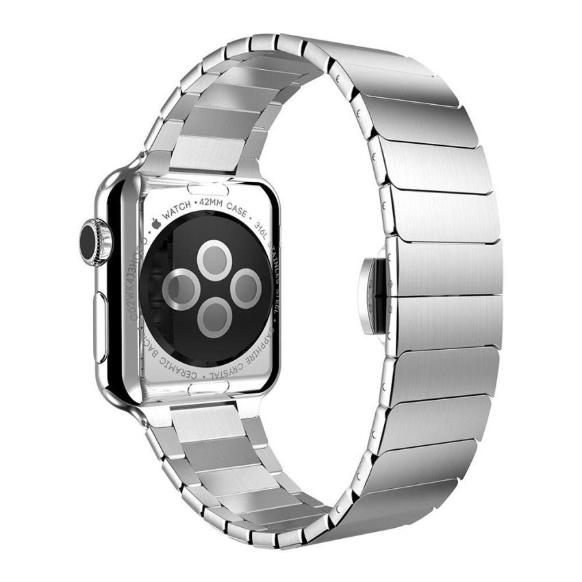 Stainless Steel Butterfly Lock Tali Jam Rantai untuk Apple Watch 42mm-Intl