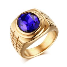 Stainless Steel Fashion Biru Berlian Imitasi Kristal Cincin For Pria And Wanita, Emas