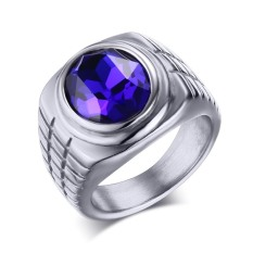 Stainless Steel Fashion Biru Berlian Imitasi Kristal Cincin For Pria And Wanita, Warna Silver